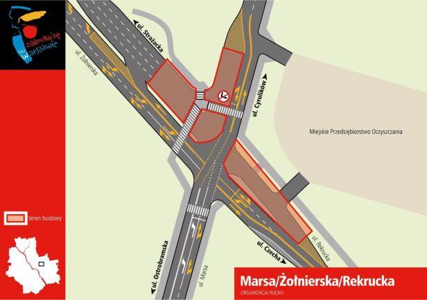 Utrudnienia na skrzyżowaniu ulic Marsa, Żołnierskiej i Rekruckiej UM