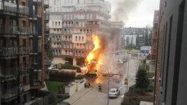 Uszkodzony gazociąg i pożar